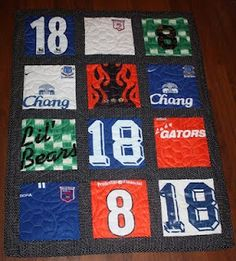 T-shirt Quilt! I have a bunch of old high school, swimming, college, rowing, etc tees saved up for something like this.