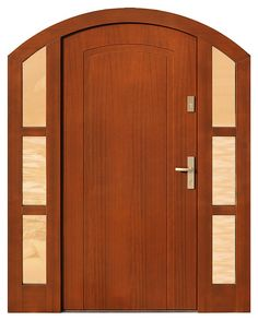 Drzwi zewnętrzne ze stałymi dostawkami doświetlami bocznymi model 801,1 w kolorze ciemny dąb