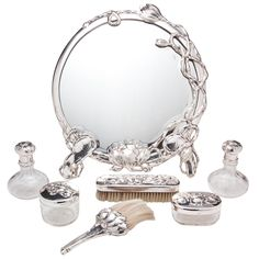 An Exceptional Silver And Glass Art Nouveau Vanity Suite by Max Gedlicka  -  Austria    c.1890