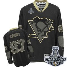 Reebok Pittsburgh Penguins  87 Men s Sidney Crosby Authentic Black Ice Stanley  Cup Champions NHL Jersey 7f423e6132