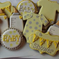 #babyshower #cookies #grey #yellow