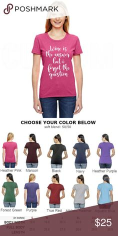 (10 Colors) Wine is the answer Women's Fitted Tee 2017 Hot Dog Graphic Tees Made in the U.S. Tops Tees - Short Sleeve