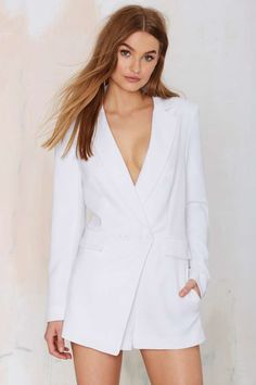 No Tux Given Blazer Romper - Rompers + Jumpsuits | Best Sellers | Winter White | Riot Girl | Clothes | All