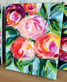 Expressive Flower Paintings on Canvas by Artist Elle Byers Learn How to Paint Flowers with Acrylic Expressive Flower Paintings on Canvas by Artist Elle Byers Learn How to Paint Flowers with Acrylic Nicole Elizabeth nicolekissell Art nbsp hellip Acrylic Painting For Beginners, Simple Acrylic Paintings, Acrylic Painting Tutorials, Easy Paintings, Acrylic Art, Popular Paintings, Easy Flower Painting, Flower Painting Canvas, Flower Canvas