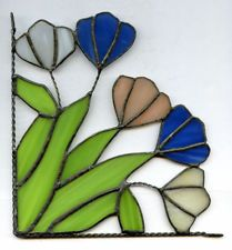 """Floral Stain Glass Corner Hanger Flowers Blue White Green Pink 6 3/4"""" x 6 3/8"""""""