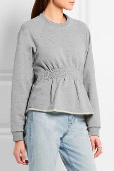 T by Alexander Wang | Cotton-terry peplum sweatshirt | NET-A-PORTER.COM