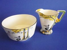 Burleigh Ware 'Pan' Zenith Shape Art Deco Jug and Bowl Shape Art, Floral Theme, Coffee Set, Pattern Names, Flatware, Bowls, Depression, Tea Cups, Oven