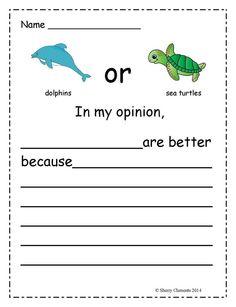Opinion Writing: Ocean Animals $