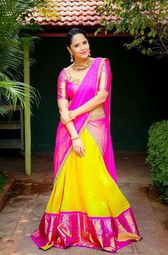 Pattu Pavadai is a traditional attire of south Indian women, especially for youngsters. pattu pavadai is also known as half saree. Indian Lehenga, Half Saree Lehenga, Anarkali Dress, Indian Beauty Saree, Kids Lehenga, Pakistani, Half Saree Designs, Saree Blouse Designs, Half Saree Function