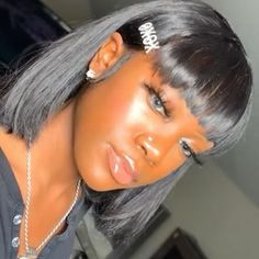 Carina Customized Bob with Bangs Density Brazilian Remy Glueless Human Hair Lace Wigs Frontal Hairstyles, Baddie Hairstyles, My Hairstyle, Black Girls Hairstyles, Hairstyle Ideas, Natural Hair Types, Hair Quality, Hair Laid, Human Hair Lace Wigs
