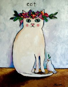 Cat by Jennifer Yoswa: is the bird making a nest on the cats head? or is it extending a olive branch to the cat? I Love Cats, Crazy Cats, Cool Cats, Image Chat, White Cats, Cat Drawing, Art Design, Cat Art, Cats And Kittens