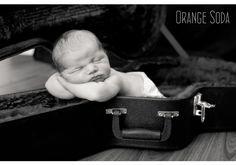 baby in guitar case | Very Hard Rock Newborn - photos by Orange Soda