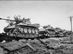 """Panther tanks of the Waffen SS Panzer Division """"Wiking"""" roll towards the eastern front."""