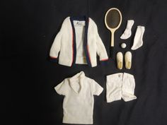 Vintage Ken Doll Clothes Time for Tennis  Barbie Mattel Allen Shoes Racket WOW