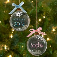 DIY your photo charms, compatible with Pandora bracelets. Make your gifts special. Make your life special! Baby's First Christmas Ornaments 2014 - personalized glass ornaments for baby girl or boy Babys 1st Christmas, Baby First Christmas Ornament, Glass Christmas Ornaments, Diy Christmas Gifts, Christmas Projects, Holiday Crafts, Christmas Time, Christmas Decorations, Baby Ornaments