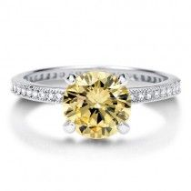 Round Canary CZ 925 Silver Solitaire Ring 2.04 ct
