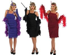 Ladies Black Red Purple 1920s 30s Flapper Charleston Great Gatsby Fringed Tassled Fancy Dress Costume Outfit 8-30 Plus Size (UK 16-18, Black)
