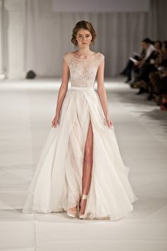 Paolo Sebastian Swan Lake Wedding Dress with Nude Bustier - Nearly Newlywed Wedding Dress Shop