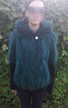 GREEN RACCOON FUR Jacket with hood-Grun Pelzjacke mit Hauve-verde procione giacca di pelliccia con cappuccio-Mink silver fox fur coat vest by DamianKastorianFurs on Etsy