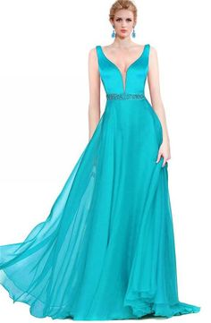 Sexy A Line Plunging Neckline Long Turquoise Chiffon Flowing Prom Dress Prom Dresses 2017, Prom Dresses For Sale, Formal Dresses, Turquoise Prom Dresses, Flowing Dresses, Plunging Neckline, Chiffon, Elegant, Sexy