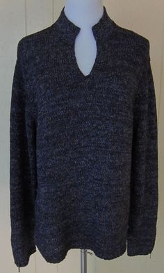 Coldwater Creek Women's Size XL Loose Weave Blue-Brown Long Sleeve V Neck Top #ColdwaterCreek #KnitTop