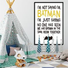 Caroon Batman Quote Wall Art Funny Posters and Prints Minimalist Canvas Painting Wall Pictures for Children Living Room Decor