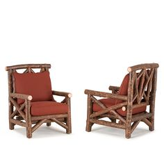 Rustic club chairs by La Lune Collection are designer quality, hand-crafted furniture made in the USA. Rustic Chair, Rustic Furniture, Chair And Ottoman, Armchair, Soft Towels, Cabin Interiors, Sunbrella Fabric, Club Chairs, Cushion Covers