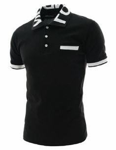 (VRS16-BLACK) Thelees Mens Slim Fit Collar Neck Logo Patched Short Sleeve Tshirts