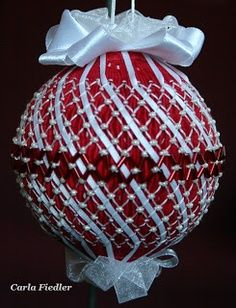 Red & white smocked ornament with pearls---love it!
