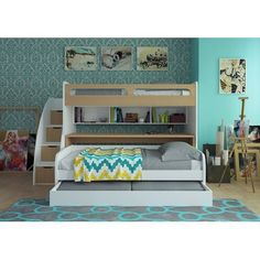 Brayden Studio Gautreau Twin Bunk Bed over Full XL Sofa Bed, Table and Trundle Bed Frame Color: Light Wood/White Bunk Bed Sets, Bunk Bed With Trundle, Full Bunk Beds, Bunk Beds With Stairs, Kid Beds, Twin Futon, Futon Bunk Bed, Twin Xl Bedding, Bedding Sets