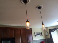 Mason Jar Edison Bulb Pendant Light Fixture by GingerHawkCustom Pendant Light, Mason Jars, Light, Bulb, Edison Bulb, Home Decor, Pendant Light Fixtures, Edison Bulb Pendant Light, Fixtures