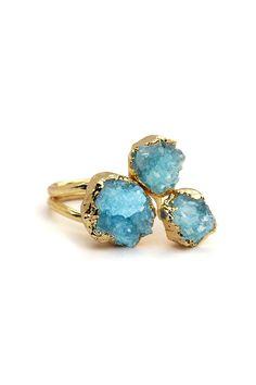 Druzy 3 Stone Ring