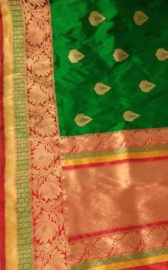 Green Handloom Banarasi Katan Silk Saree   #Banarasisari#chiffongeorgettesaree#handloom#traditional#Indianwear#georgette#goodlooking#madeinindia#traditionallook#loveforsaree#katansilk# Banarasi Sarees, Silk Sarees, Saree Models, Green Saree, Buy Sarees Online, Half Saree, Modern Outfits, Indian Sarees, Blouse Designs