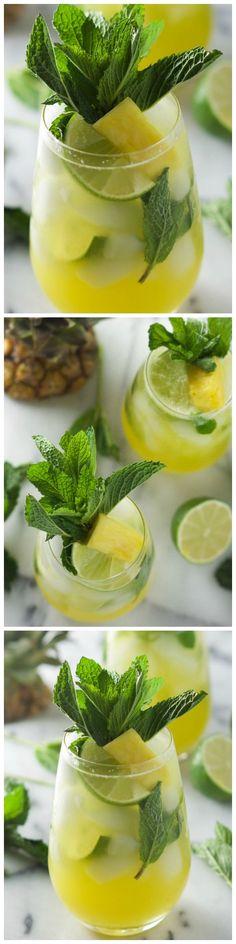 Skinny Sparkling Mint Pineapple Lemonade.