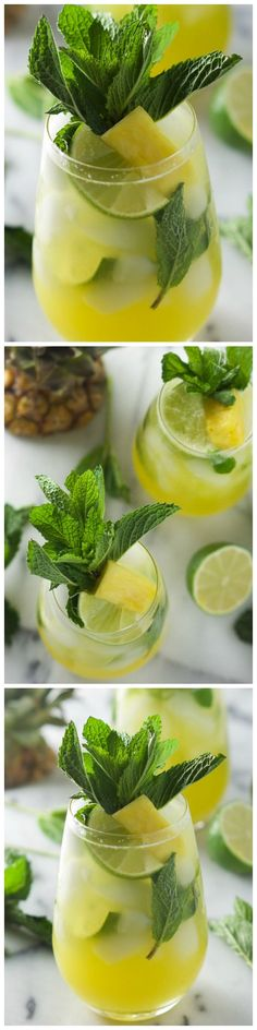 Skinny Sparkling Mint Pineapple Lemonade.