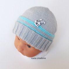 Bonnet bébé en laine layette tricoté main, gris layette et turquoise , 0/3 mois@nana-creations.