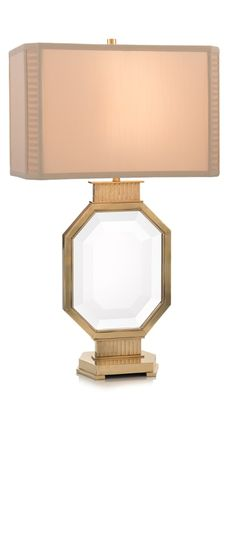 Limited Production Design & Stock: Grand Octagonal Framed Crystal Console Lamp * Gilded Finish * Hand Tailored Silk Shade * 150 Watts A Bulb * H: 29 inches Luxury Table Lamps, Brass Table Lamps, Brass Lamp, Nightstand Lamp, Bedside, Hotel Room Design, Luxury Lighting, Modern Lighting, Buffet Lamps
