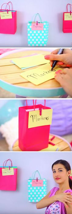Hang Gift Bags To Store Things | Easy Spring Cleaning Tips and Tricks | DIY Teen Girl Bedroom Organization Ideas