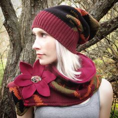 Slouchy Hat and Scarf Set Upcycled Sweater by AStudiobytheWoods