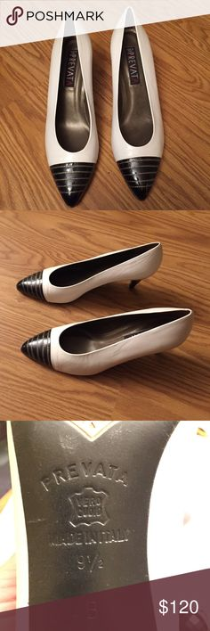 "NWOT Italian Real Leather Designer Pumps You will love these gorgeous classic white pumps made in Italy! Cute black top with gold threads application! 3"" heels! Perfect for all occasions! Prevata Shoes Heels"