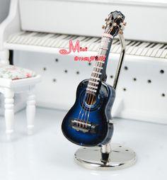 1/12 Dollhouse Miniature Blue Guitar W/ Box Music Room