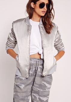 Futuristic additions are everywhere right now and we're lovin' the metallic flair. Bag a bomber this season and effortlessly raise your style and space-age game. Featuring a chic satin feel, bomber style and a grey hue, outerwear has never ...