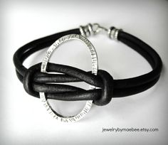 Sterling oval knotted to leather...now that's a bracelet. www.jewelrybymaebee.etsy.com