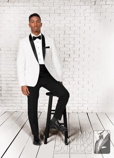 White 'Clayton' Tuxedo from http://www.mytuxedocatalog.com/catalog/rental-tuxedos-and-suits/c1031-white-clayton-slim-tuxedo/