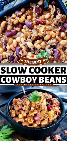The BEST Slow Cooker Cowboy Beans is the perfect side dish recipe! This easy comfort food dinner is loaded with beans, bacon, and beef. Its hearty and filling side dish is sure to become a family… Best Slow Cooker, Slow Cooker Recipes, Beef Recipes, Real Food Recipes, Yummy Recipes, Cooking Recipes, Simple Recipes, Best Side Dishes, Side Dish Recipes
