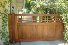 wood slat courtyard fence craftsman - Google Search