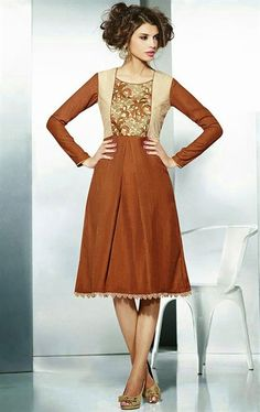 Attractive Deep Beige and Deep Orange Color Tunic