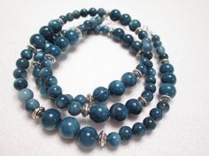 Unisex Necklace  Blue  Shell Necklace by TiemTeeCreations on Etsy