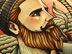 The Ginger Sailor Tattoo Art Print by ParlorTattooPrints on Etsy