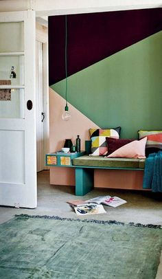 wall paint color ideas green and pink wall
